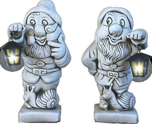 DEGARDEN Figuras Pareja de Enanos con Farol de hormigón-Piedra para jardín o Exterior 46cm.: Amazon.es: Jardín