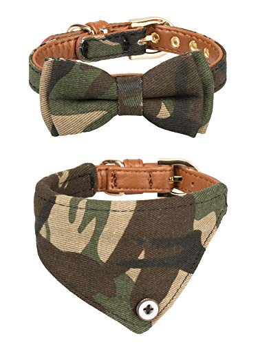 Gyapet Collar for Cat Small Dog Bandana Bowtie Puppy Kitten 2 Packs Adjustable Scarf Cute Camo camo-Green