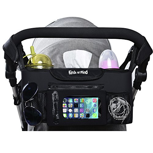 Babe Maps 2 Cup Holders & Accessories Storage Bag for Strollers - Stroller Organizer for Moms, Universal Fit Baby Pram Hanging Storage Bag With Mesh Pocket for Cell Phone (Black)