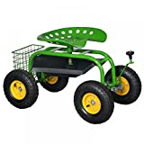 New Green Heavy Duty Gardening Planting Garden Cart Rolling Work Seat With Tool Tray