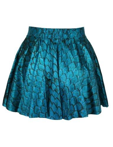 LaSuiveur Womens Blue Squama Scale Digital Print Stretchy Flared Pleated Casual Mini Skirt