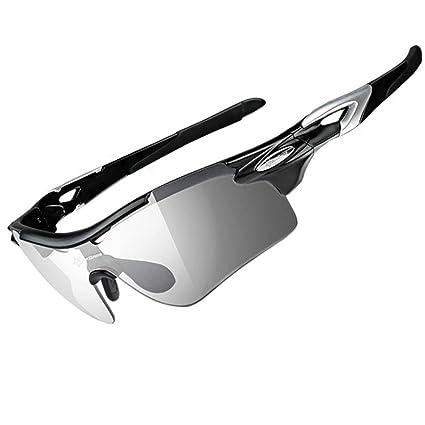 RockBros Gafas de Ciclismo fotocromáticas polarizadas, gafas de sol para el deporte al