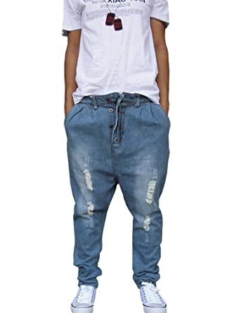 3b3a3d4e30a598 Männer Hip Hop Baggy Jeans lose Street Style Denim lange Hosen .