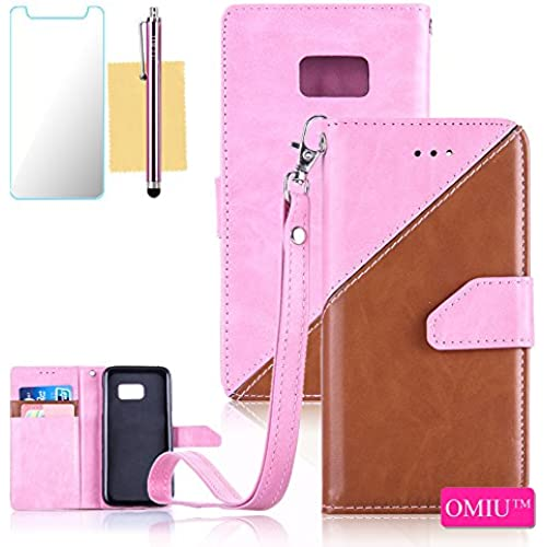 Galaxy S7 Case,S7 Case,OMIU(TM) Premium PU Leather Stitching Fabric Patterns Design Card Slots Stand Wallet Case for Samsung Galaxy S7-(Pink+Brown) Sales