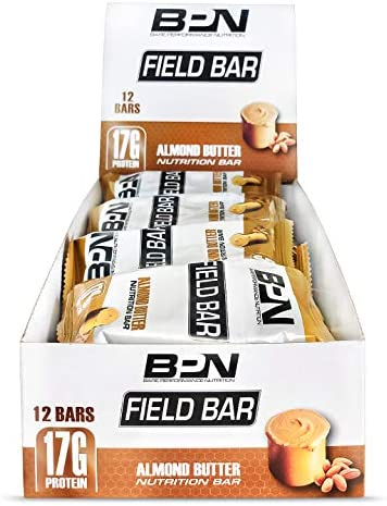 Bare Performance Nutrition, Field Bar, High Protein Bar, Nutrition Bar, Made with Whole Ingredients, Naturally Sweetened, Almond Butter 12 Bars, Almond Butter