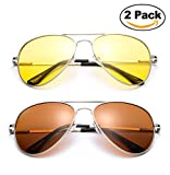 Polarized Night Vision Driving Glasses Yellow Amber Lens & Day Time Drving Sunglasses Copper Lens-Classic Aviator Style Glasses with Comfortable Spring Hinge Fit for Most People! (Save on Packs)