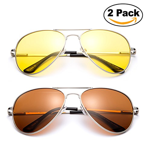 2 Pack- Polarized Night Vision Driving Glasses Yellow Amber Lens & Day Time Drving Sunglasses Copper Lens-Classic Aviator Style Glasses with Comfortable Spring Hinge Fit for Most People!