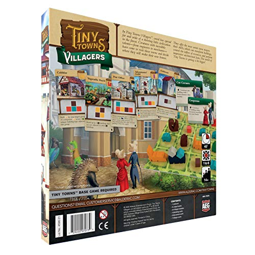 Tiny Towns Villagers Expansion (ALD07073), 1-6 Players, 10 min Setup + 45 min Play Time, Strategy Board Game for Ages 14 and Up, Cleverly Plan & Construct a Thriving Town that is Expanding