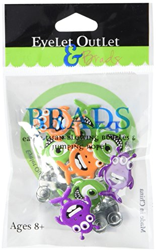 (EYELET OUTLET QBRD2-294B Shape Brads,Monsters, 12-Pack)