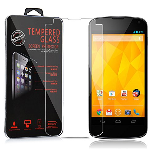 Cadorabo – Tempered Glass Bulletproof Glass LG Google NEXUS 4 Screen Protector Protective Film 0.3 mm Curved Edges – HIGH TRANSPARENCY