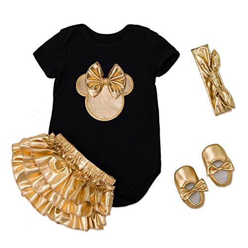 Zehui 4 pcs traje de ropa para Bebé Recién Nacida, Ropa de Algodón Suave Conjunto de Mamelucos de Manga Corta + Vestido Dorado + Hairband + Zapatos de Oro