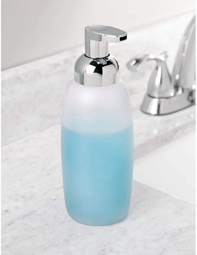 Pack of 2 Frost//Chrome mDesign Foaming Glass Soap Dispenser Pump for Kitchen or Bathroom Countertops