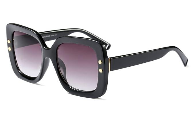 Amazon.com: Black Square Sunglasses for Women Vintage Retro Large ...