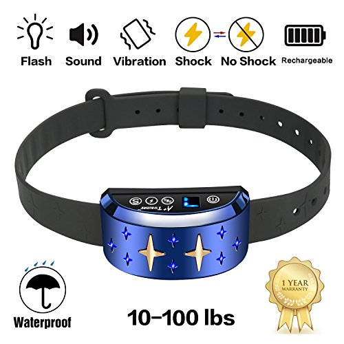 Bark Collar [2018 Smart Chip] Dog Shock Anti-Barking Collar with Beep, Vibration and Harmless Shock Rechargeable No Bark Control for Small/Medium/Large Dogs