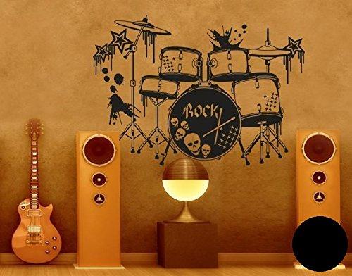 Klebefieber Wandtattoo Schlagzeug B x x x H  100cm x 71cm Farbe  Schwarz B0711D8HB9 Wandtattoos & Wandbilder e4f532