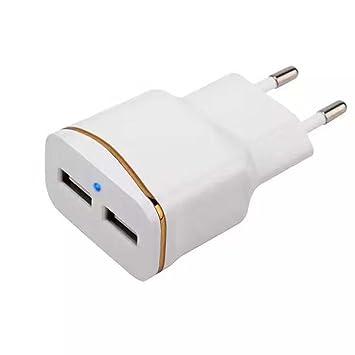 Cestval Chapado en Doble Anillo Cargador USB Cargador de Viaje Doble LED Luz Azul Cargador de teléfono móvil USB 2A Cabeza de Carga