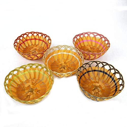 Woven Storage Basket Fruit Vegetables Basket Hand-Woven Rattan Bread Basket Creative Woven Basket Snack Baskets for Kitchen Gadgets (Baskets Rattan Target)