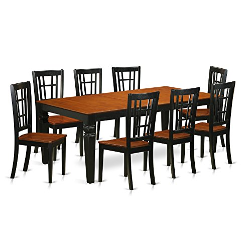Dinette Cherry Finish Set (East West Furniture LGNI9-BCH-W 9 Piece Dinette Set with One Logan Dining Table and 8 Dining Chairs in Black & Cherry Finish)