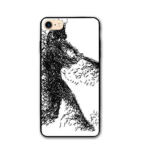 Illustrations Baseball (Haixia iPhone 7/8 Case 4.7 inch Black White Abstract Artistic Illustration A Baseball Player Posing Grunge Sports Black White)
