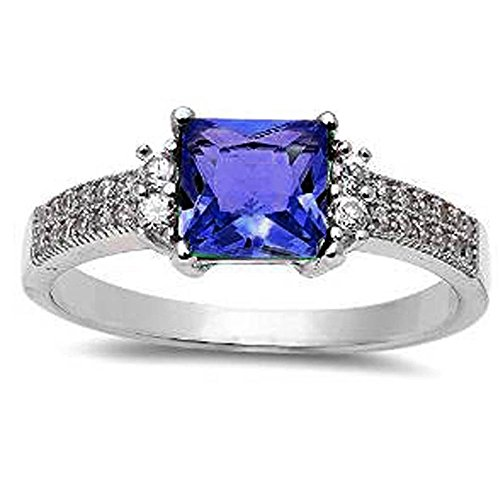 Princess Cut Simulated Tanzanite & Cz .925 Sterling Silver Ring Size 7