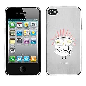 [Neutron-Star] Snap-on Series Teléfono Carcasa Funda Case Caso para iPhone 4 / 4S [Búho lindo de los niños de la India Historia padres Noche]