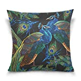 Top Carpenter Peacocks Velvet Plush Throw Pillow Cushion Case Cover - 18'' x 18'' - Invisible Zipper Home Decor Floral for Couch Sofa No Pillow Insert