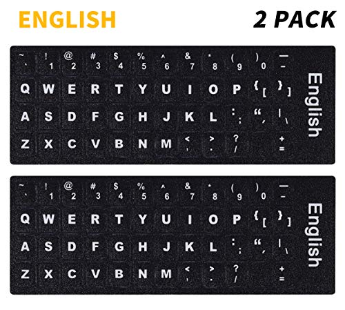 - (2PCS Pack) PC Keyboard Stickers, Universal English Keyboard Stickers Black Background with White Large Lettering for Computer Laptop(English)