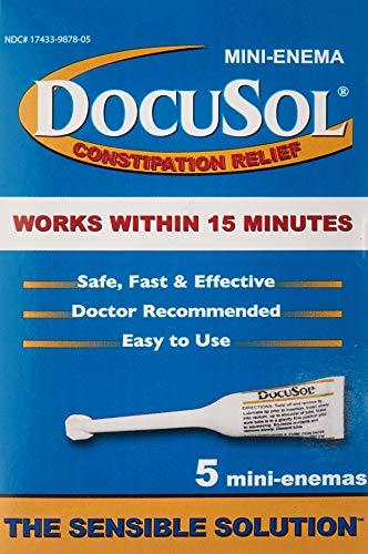 Docusol Docusate Sodium Mini Enema, Clear, 5 ml, 5 Count