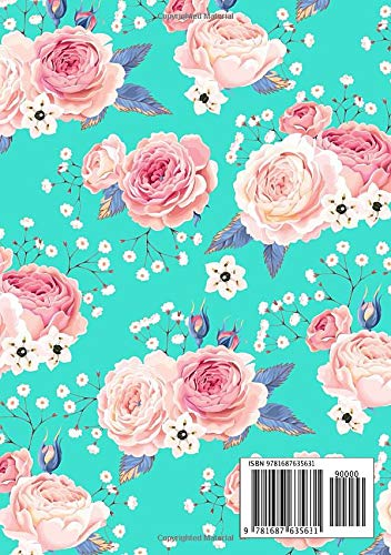 B6 Notebook 2 Columns Small with A-Z Alphabetical Tabs Printed Folk Bird and Floral Design Turquoise Vocabulary Notebook