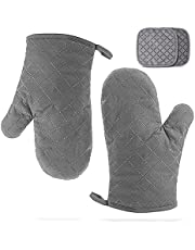 GOLDCHAMP Oven Mitts and Pot Holders with Hanging Loops 4-Piece Set, Heat Resistant Oven Gloves with Non-Slip Silicone, Breathable Polyester Fabric Lining, Optimal Kitchen Gloves for Baking, BBQ…