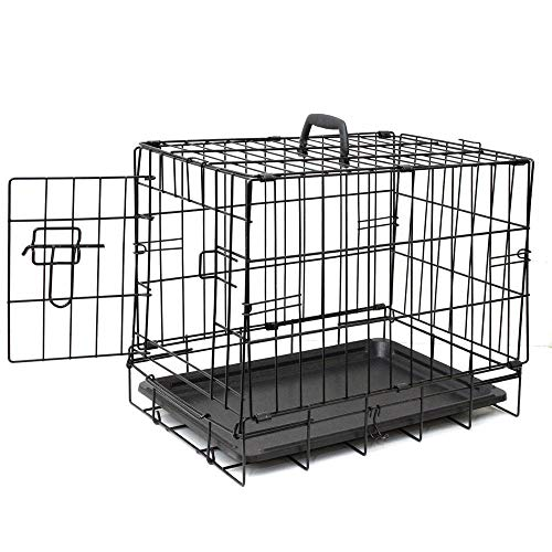 NOBLJX Folding Dog Crate, Double-Door Pet Cat Puppy Steel Crate Animal Playpen Wire Metal Cage with Detachable Handle and Divider Tray, Easy to Clean/ 61 X 44 X 50 cm