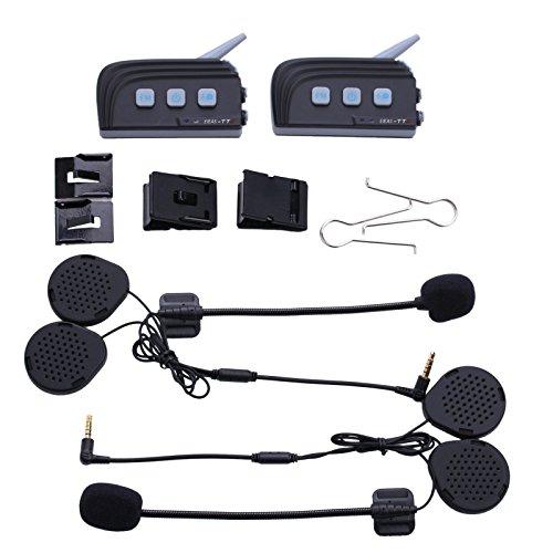 2pcs Waterproof Dual Bluetooth 4.0 Motorcycle Helmet Interphone Headset Intercom for 4 Riders With FM