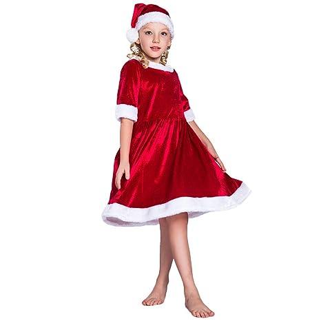 QQWE Niños Navidad Pequeño Vestido Rojo Vestido De Fiesta ...