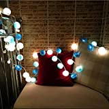 H+K+L 20 Cotton Ball Fairy Hanging String Lights Wedding Bedroom Living Room Patio Party Decoration Light (Blue)