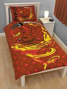Lego Ninjago Fire - Juego de funda de edredón (cama individual), diseño de ninja