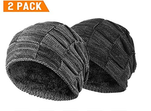 acbff04c Vgogfly Slouchy Beanie for Men Winter Hats for Guys Cool Beanies Mens Lined  Knit Warm Thick Skully Stocking Binie Hat (Black & Grey(Gift Package))