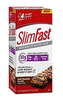 Slim Fast Advanced Nutrition Meal Replacement Bar, Dark Chocolate Sea Salt Nut, 4 Bars (Pack of 2)