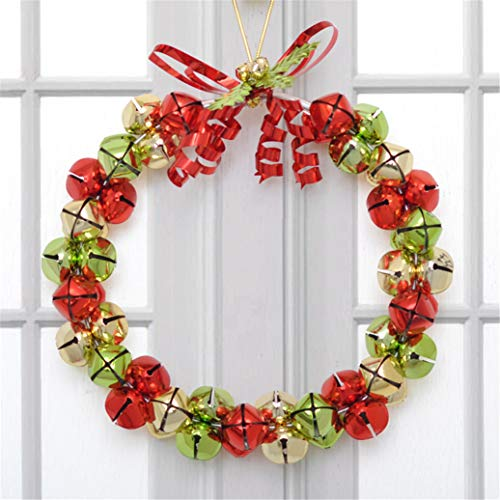 r Wreath Christmas Bells Garland Wrought Iron Christmas Atmosphere Door and Window Ornaments Flower Gift Purole Green Size: 27.5Cm/10.83Inch ()