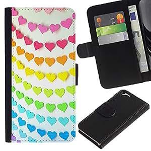 Billetera de Cuero Caso Titular de la tarjeta Carcasa Funda para Apple Iphone 6 4.7 / Rainbow Pink Orange Teal Paper Line Pattern / STRONG