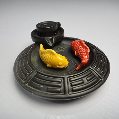 ShuangChuang Backflow Incense Burner Ceramic Gossip Fish, Incense Cones & Sticks Holder, Ideal for Yoga Room & Home Decoration & Handicraft Gift - incensecentral.us