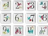 Rosanna 94944 12 Days of Christmas Trinket Dish, White/Red/Blue/Green/Gray, Set of 12