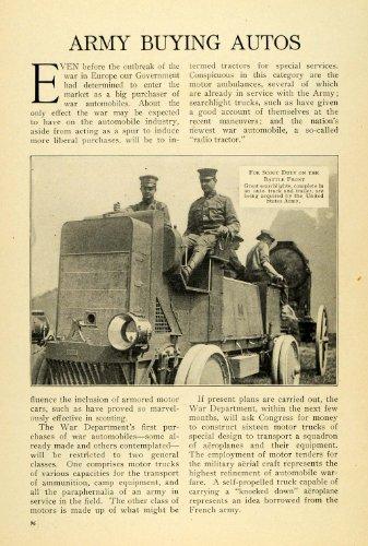 1915 Print WWI U .S. Army Antique War Automobiles Searchlights Military Tractor - Original Halftone Print