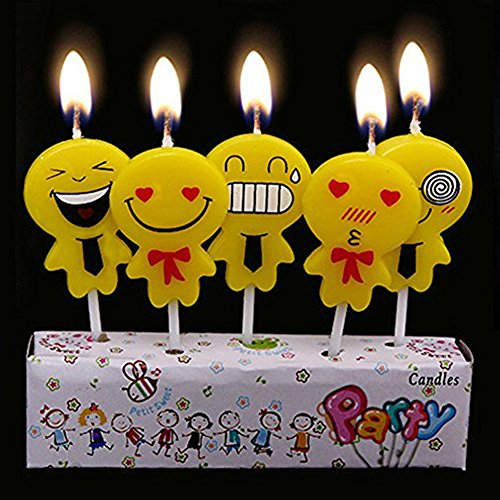 CFTech Birthday Cake Candles Cute Cartoon Handmade Creative Decoration for Your Birthday Party,5 Candles a Set (Emoji)