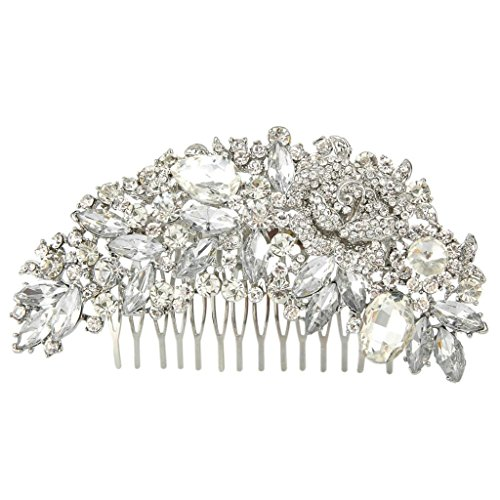 EVER FAITH Silver-Tone Austrian Crystal Bridal Rose Flower Hair Comb Clear