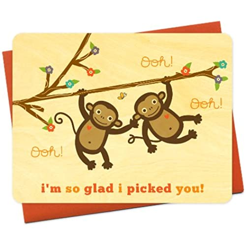 Monkey Love Wood Love Card by Night Owl Paper Goods Sales