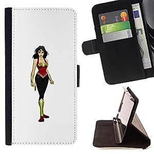 BullDog Case - FOR/Samsung Galaxy S4 IV I9500 / - / GIRL WOMAN WARRIOR HEROINE BIG BOOBS ART /- Monedero de cuero de la PU Llevar cubierta de la caja con el ID Credit Card Slots Flip funda de cuer