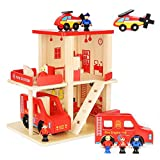 MIYUE Kid's Wooden Doll House with Accessories for Boys and Girls - Wooden Fire Station Playset Fire House Toys with 3 Dolls,10 Pcs Furniture,Large Wooden Fire Truck Vehicle & Helicopter for Children