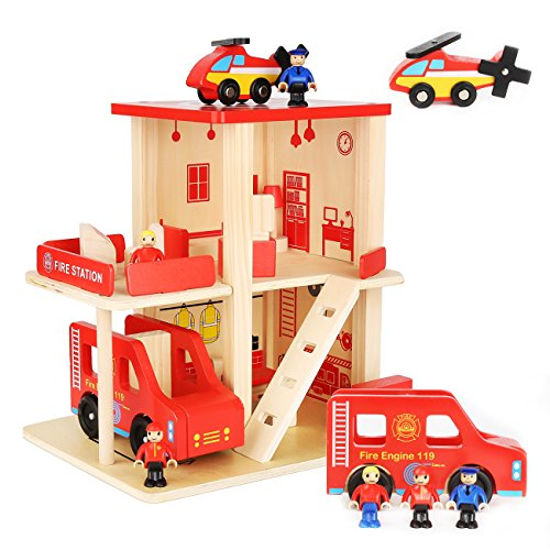MIYUE Wooden Fire Station Playset, Wooden Dollhouse with 3 Dolls & 10 Pcs Furniture, Fire House Toy with Large Wooden Fire Truck Vehicle & Helicopter for Boys and Girls