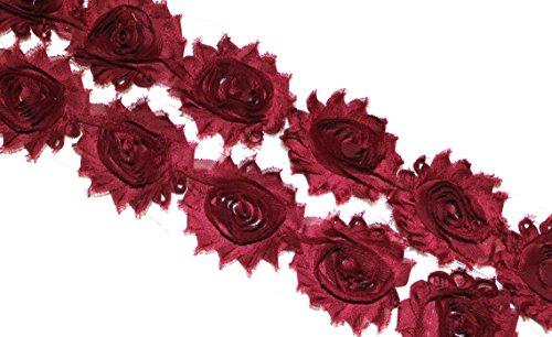 (28 pieces) JLIKA Burgundy Shabby Chiffon Fabric Flowers 2.5