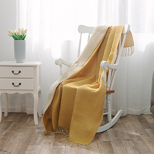 NordECO HOME Waffle Weave Throw Blanket Fringe Throw 100% Arylic Ultra Soft Lightweight Blanket for Couch, Chair, 51